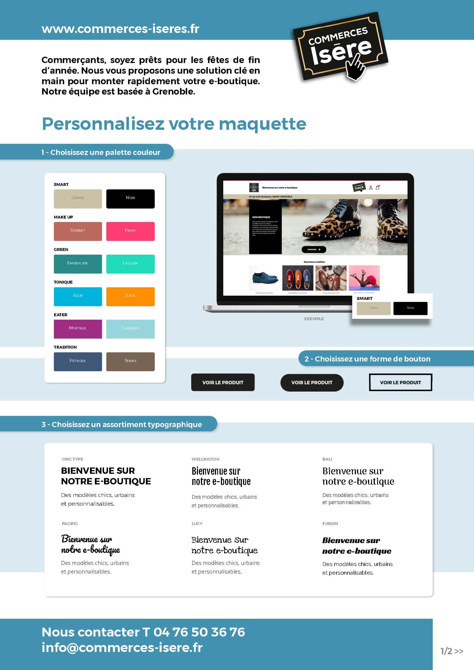 page 1 de la personnalisation du site click and collect