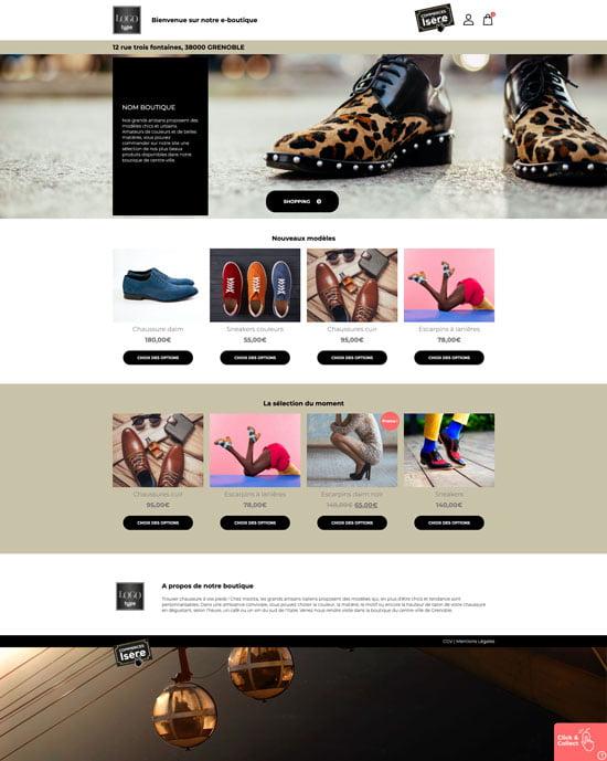 Site e-commerce de chaussure en click and collect