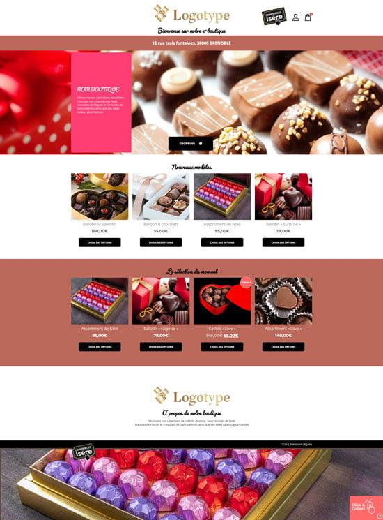 Site e-commerce de chocolaterie en click and collect