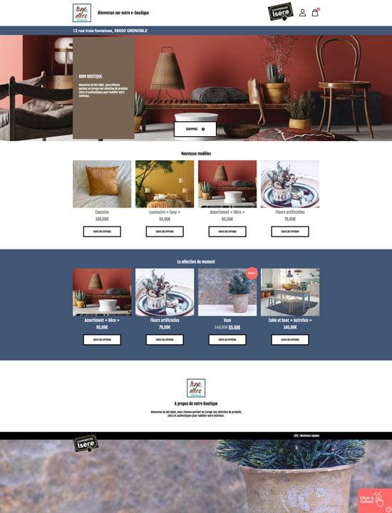 Site e-commerce de décoration en click and collect