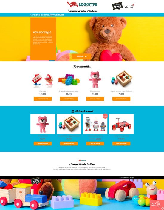 Site e-commerce de jouets en click and collect